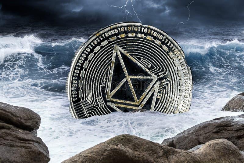 Concetto cripto di arresto del mercato finanziario di valuta di Ethereum immagini stock