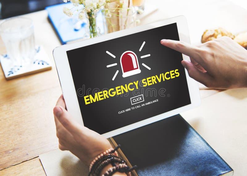 Concetto critico di rischio di crisi accidentale di servizi di soccorso immagini stock libere da diritti