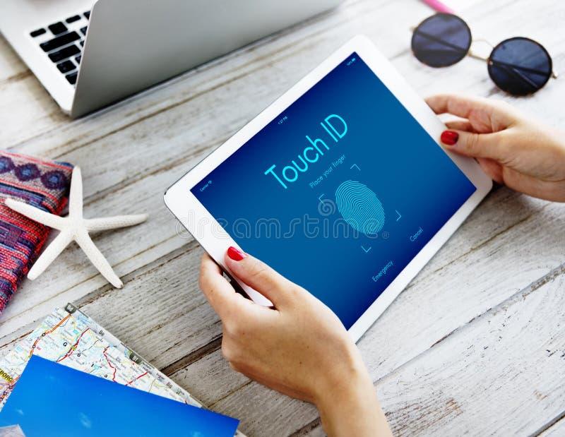 Concetto cyber del grafico di sicurezza di identificazione Access Digital di tocco fotografia stock libera da diritti