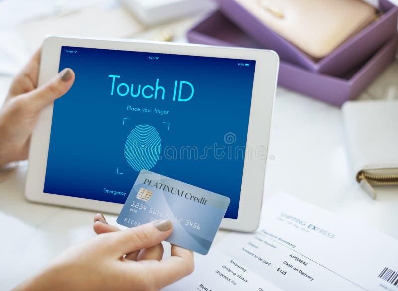 Concetto cyber del grafico di sicurezza di identificazione Access Digital di tocco fotografie stock