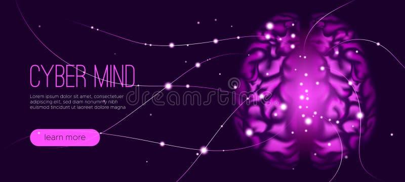 Concetto cyber di mente, intelligenza artificiale royalty illustrazione gratis