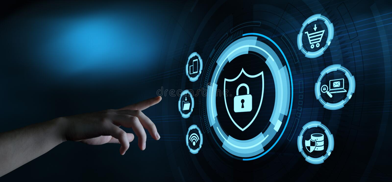 Concetto cyber di segretezza di affari di protezione dei dati di sicurezza fotografia stock libera da diritti