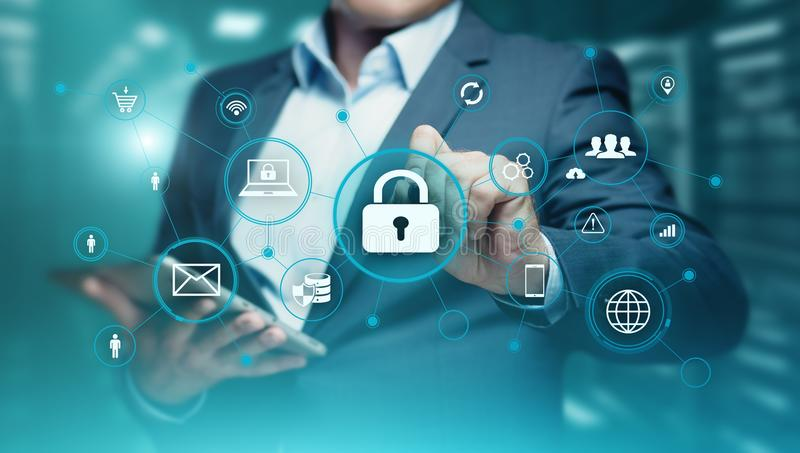 Concetto cyber di segretezza di tecnologia di affari di protezione dei dati di sicurezza fotografia stock