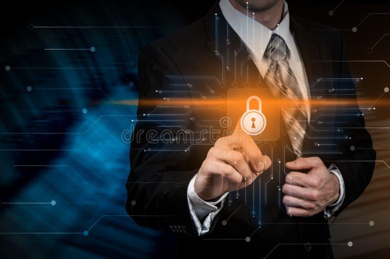 Concetto cyber di segretezza di tecnologia di affari di protezione dei dati di sicurezza fotografia stock libera da diritti