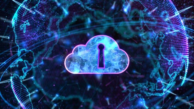 Concetto cyber sicuro di sicurezza di Digital Cloud Computing della rete di trasmissione di dati Elemento della terra ammobiliato illustrazione di stock