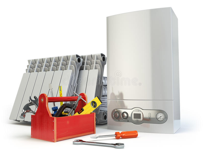Concetto d'assistenza o repearing del sistema di riscaldamento Caldaia a gas, radia illustrazione vettoriale
