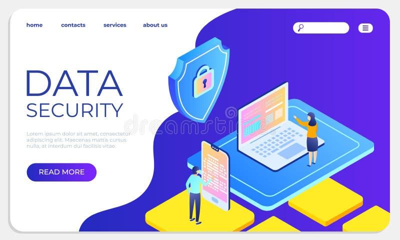 Concetto d'atterraggio isometrico di protezione dei dati Protegga i dati ed il modello del sito Web di riservatezza Illustrazione royalty illustrazione gratis