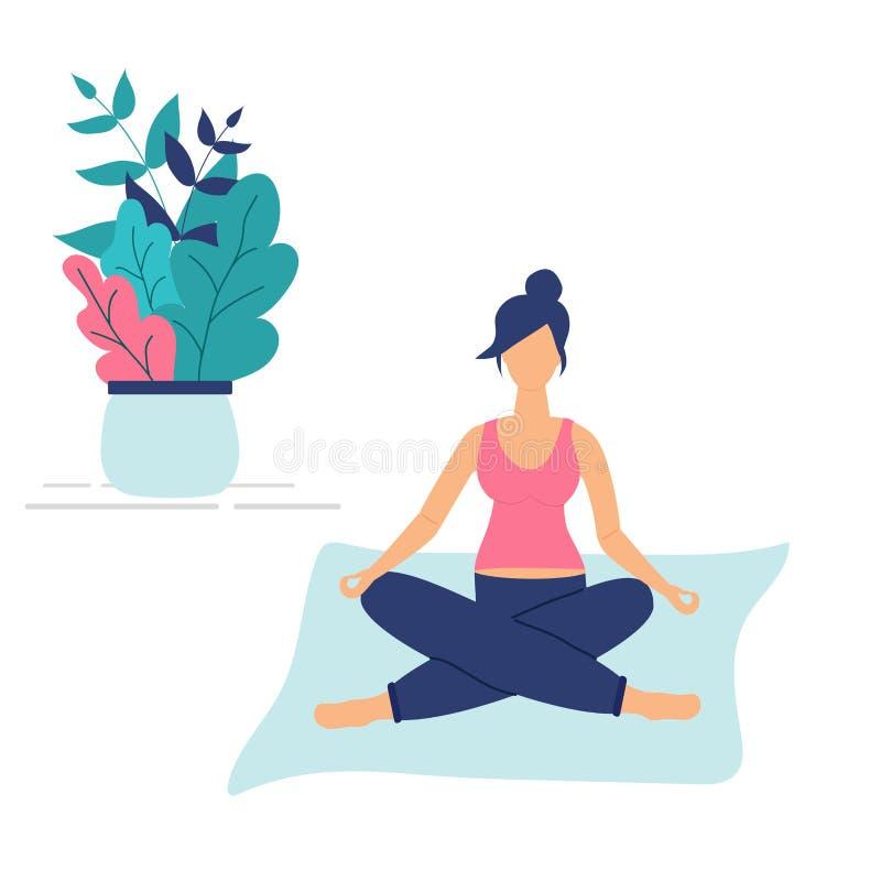Concetto d'avanguardia della classe di forma fisica: ragazza incinta sveglia sedersi nella posa del loto di yoga Figure funky pia royalty illustrazione gratis