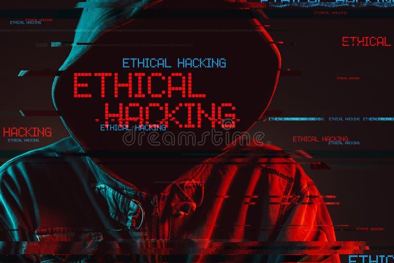 Concetto d'incisione etico con la persona di sesso maschile incappucciata anonima immagini stock libere da diritti