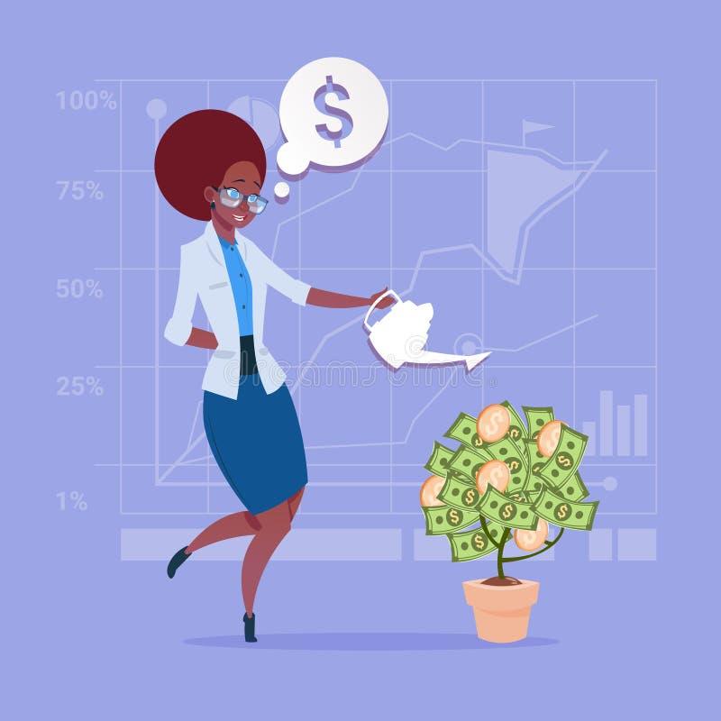 Concetto d'innaffiatura afroamericano di successo di finanza dell'albero dei soldi della donna di affari illustrazione vettoriale