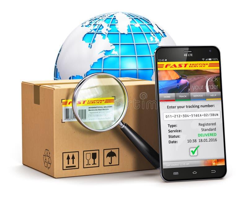 Concetto d'inseguimento del pacchetto online illustrazione di stock