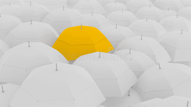concetto 3d, mostrante il capo con l'ombrello unico di colore, illustrazione di stock