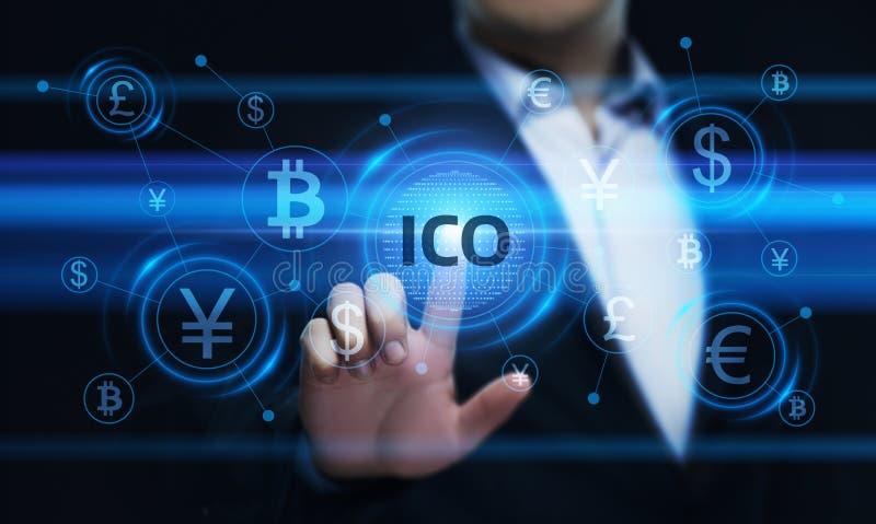 Concetto d'offerta di tecnologia di Internet di affari della moneta di iniziale di ICO fotografia stock libera da diritti