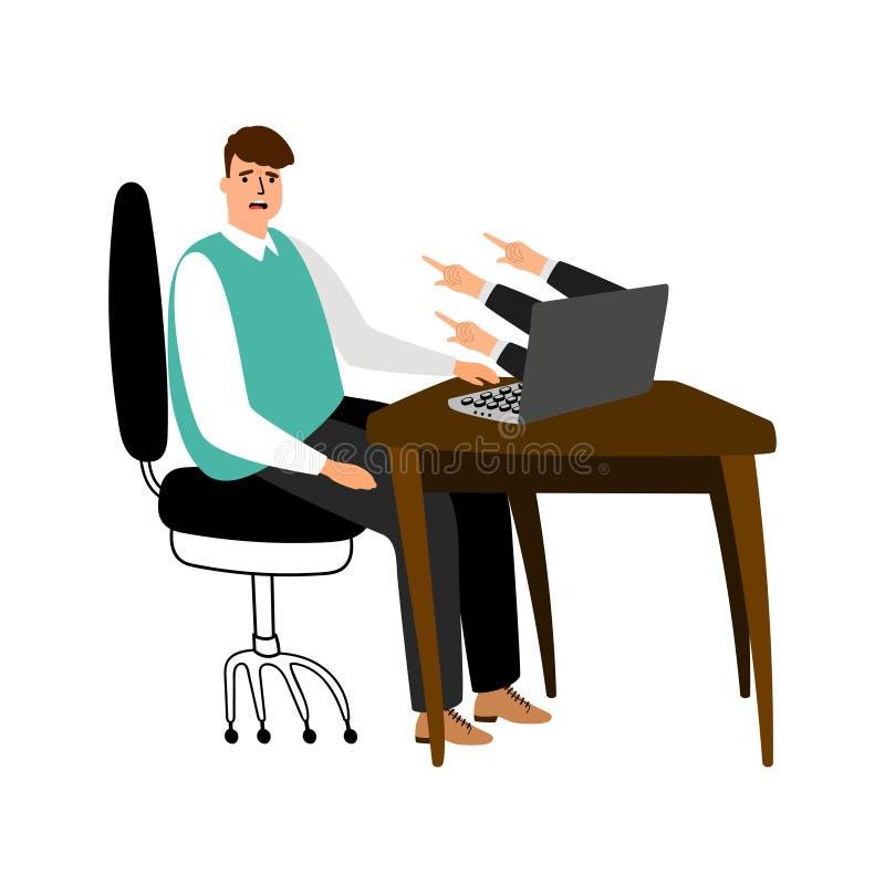 Concetto d'oppressione di vettore di Internet Uomo d'affari frustrato sul posto dell'ufficio illustrazione vettoriale