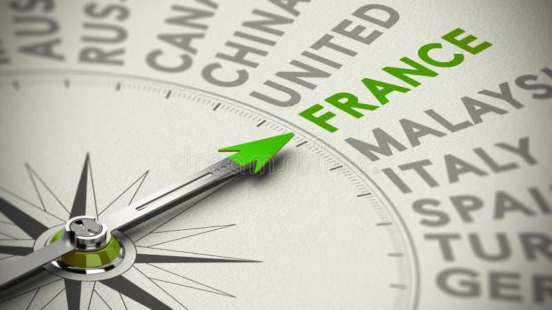 Concetto decisionale di viaggio - Francia illustrazione di stock