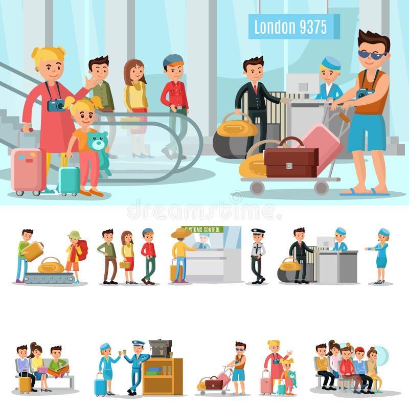 Concetto degli elementi dell'aeroporto illustrazione di stock