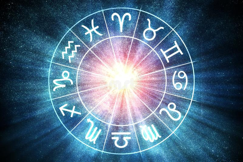 Concetto degli oroscopi e di astrologia Lo zodiaco firma dentro il cerchio 3D ha reso l'illustrazione royalty illustrazione gratis