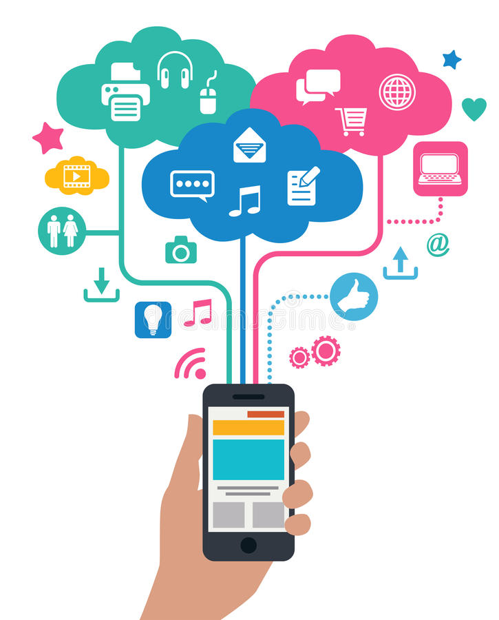 Concetto degli Smart Phone - computazione della nuvola illustrazione vettoriale