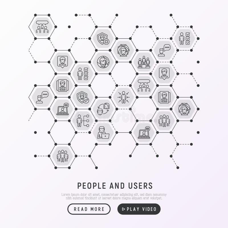 Concetto degli utenti e della gente in favi illustrazione di stock
