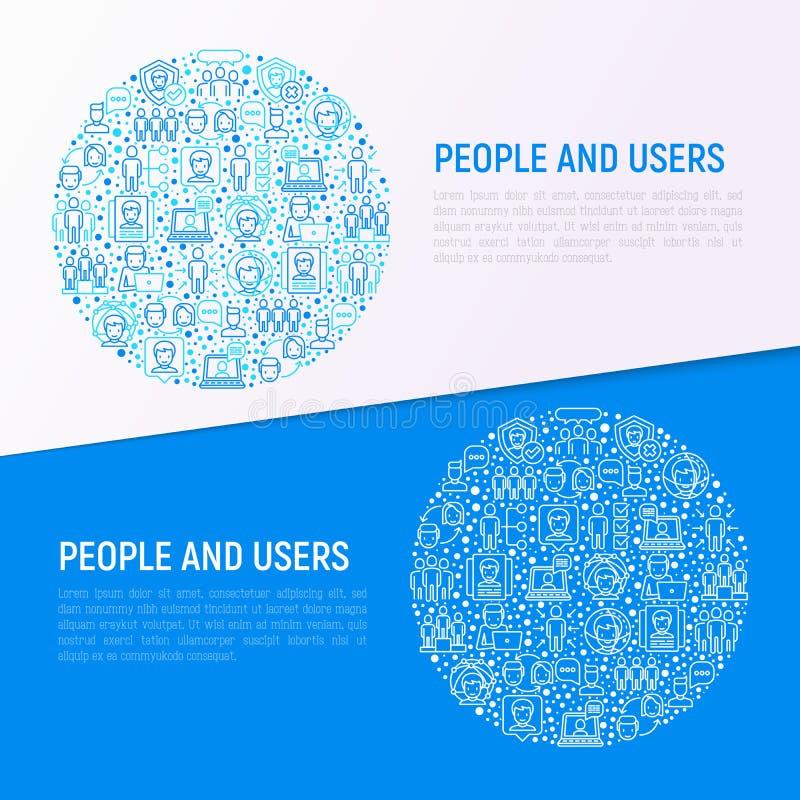 Concetto degli utenti e della gente nel cerchio illustrazione vettoriale