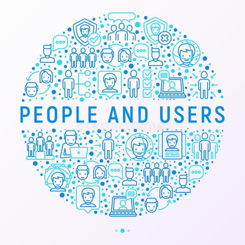 Concetto degli utenti e della gente nel cerchio illustrazione di stock