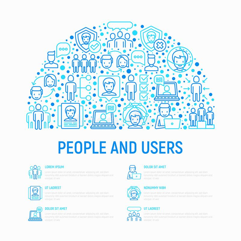 Concetto degli utenti e della gente nel semicerchio illustrazione vettoriale