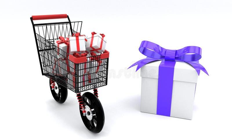 Concetto dei contenitori di regalo di acquisto di velocità, 3d royalty illustrazione gratis