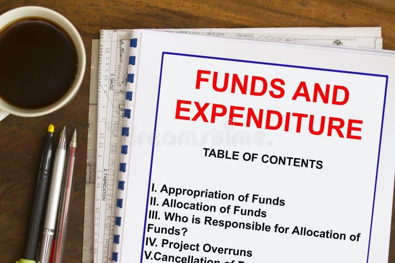 Concetto dei fondi, di assegnazione e di spese immagini stock
