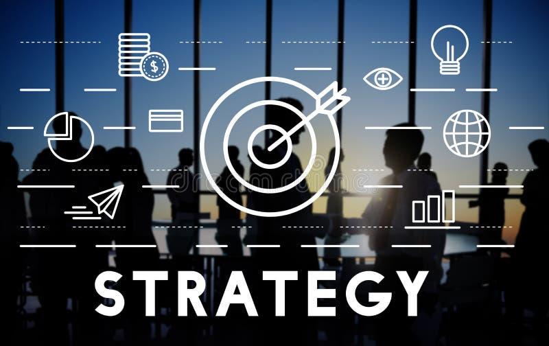 Concetto dei grafici di obiettivo di missione dell'obiettivo di strategia fotografie stock libere da diritti