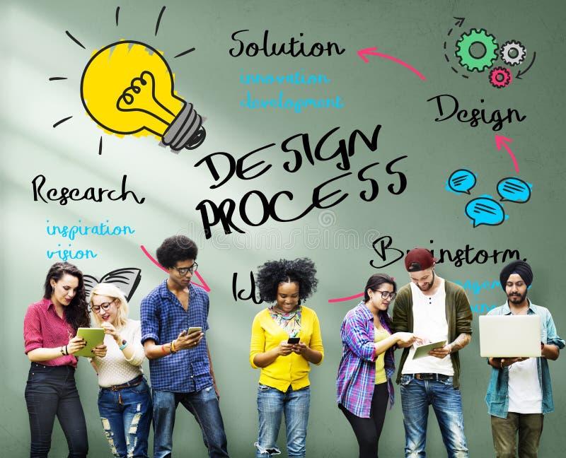 Concetto dei grafici di processo di progettazione di creatività immagine stock libera da diritti