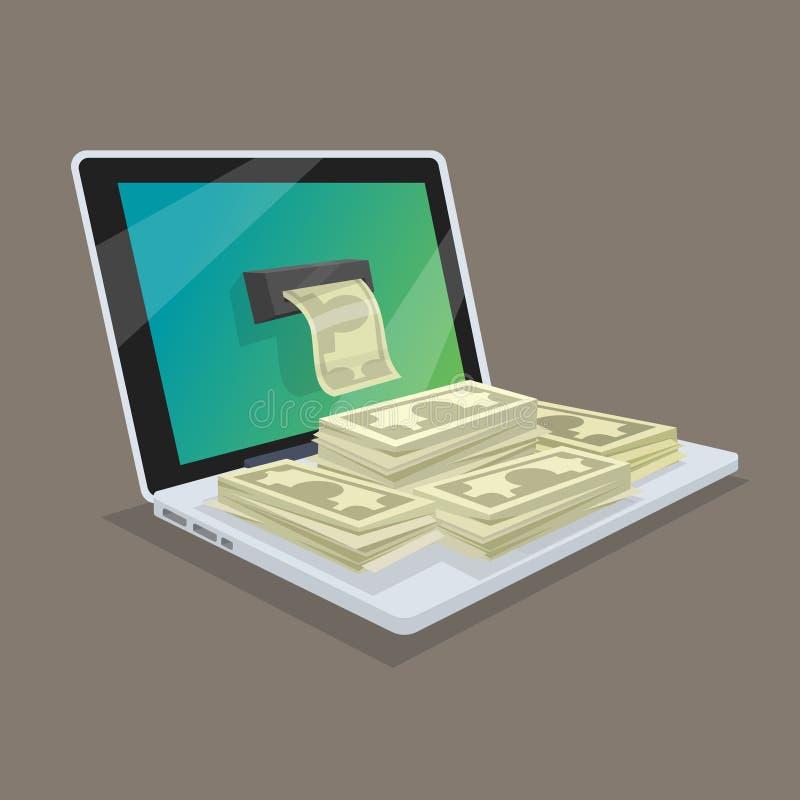 Concetto dei guadagni online o reddito nella rete Ottenere lunedì illustrazione vettoriale