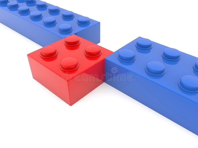 Concetto dei mattoni del giocattolo nei colori rossi e blu illustrazione di stock