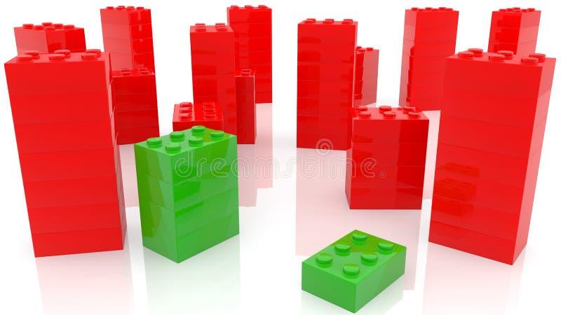 Concetto dei mattoni del giocattolo nei colori verdi e rossi illustrazione vettoriale