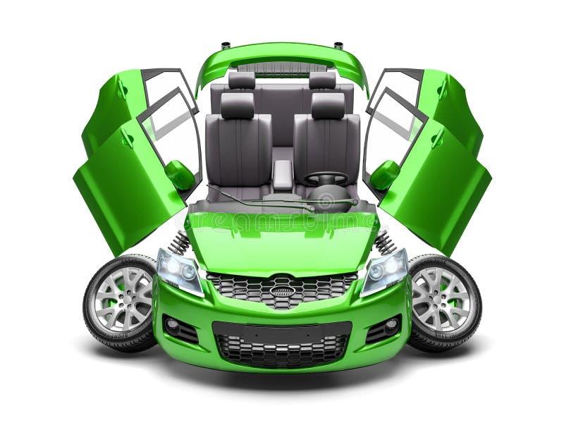 Concetto dei pezzi di ricambio dell'automobile 3d rendono royalty illustrazione gratis