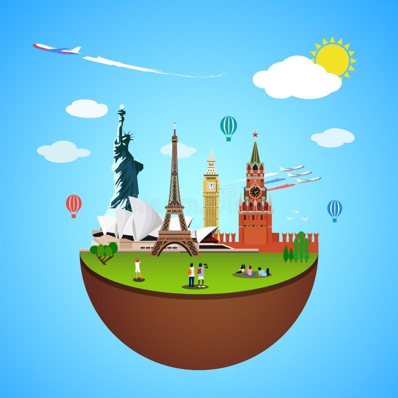 Concetto dei punti di riferimento del mondo Illustrazione di vettore per progettazione di viaggio illustrazione vettoriale