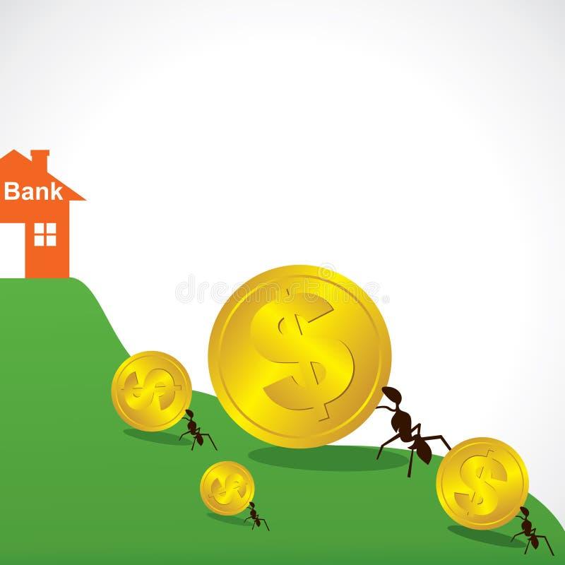 Concetto dei soldi di risparmio in banca illustrazione vettoriale