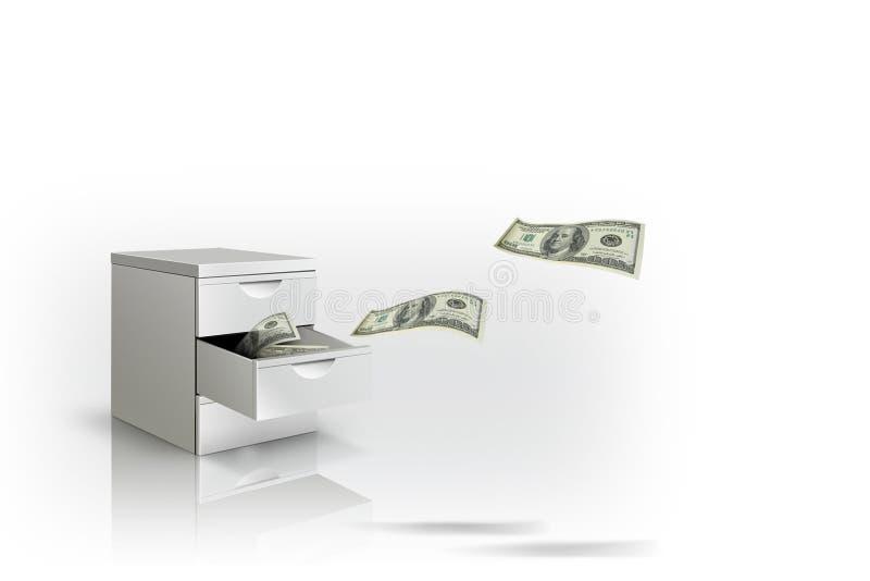 Concetto dei soldi di risparmio: Banconota che vola al cassetto bianco su fondo bianco fotografia stock