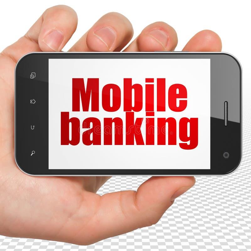 Concetto dei soldi: Passi la tenuta dello Smartphone con attività bancarie mobili sull'esposizione illustrazione vettoriale