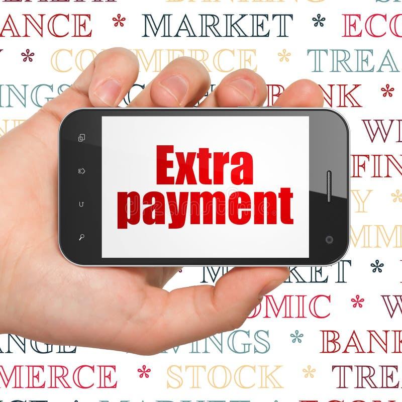 Concetto dei soldi: Passi la tenuta dello Smartphone con l'indennità supplementare su esposizione illustrazione vettoriale