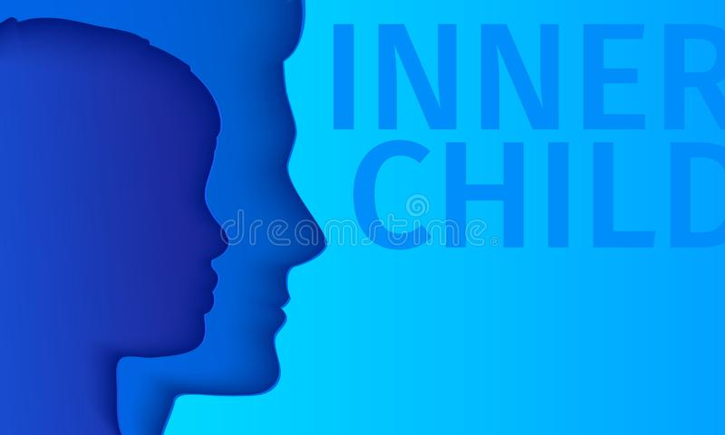 Concetto del bambino interno Siluetta di un uomo che mostra il suo bambino interno che vive nella sua mente illustrazione vettoriale