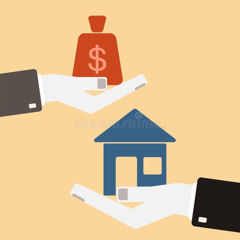 Concetto 6 del bene immobile Mani con la borsa dei soldi e della casa scambio royalty illustrazione gratis