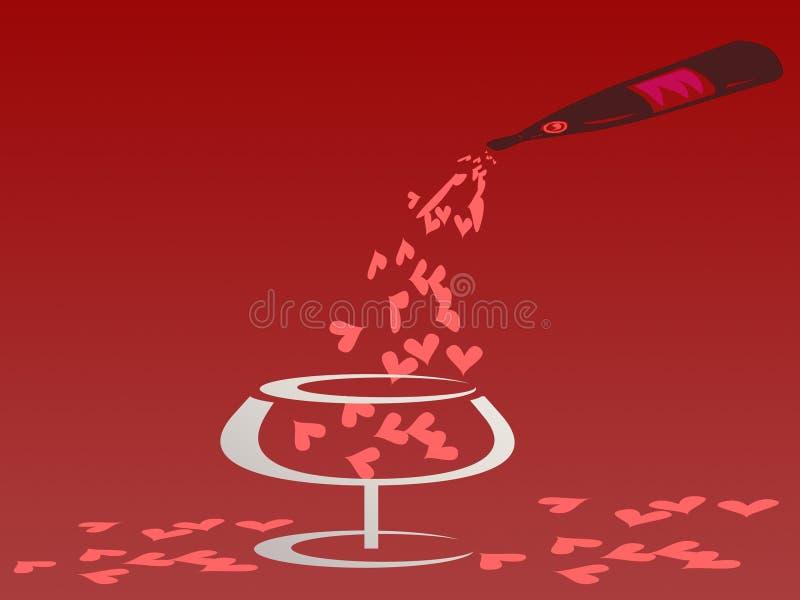 Concetto del biglietto di S. Valentino versando cuore dalla bottiglia in vetro illustrazione vettoriale