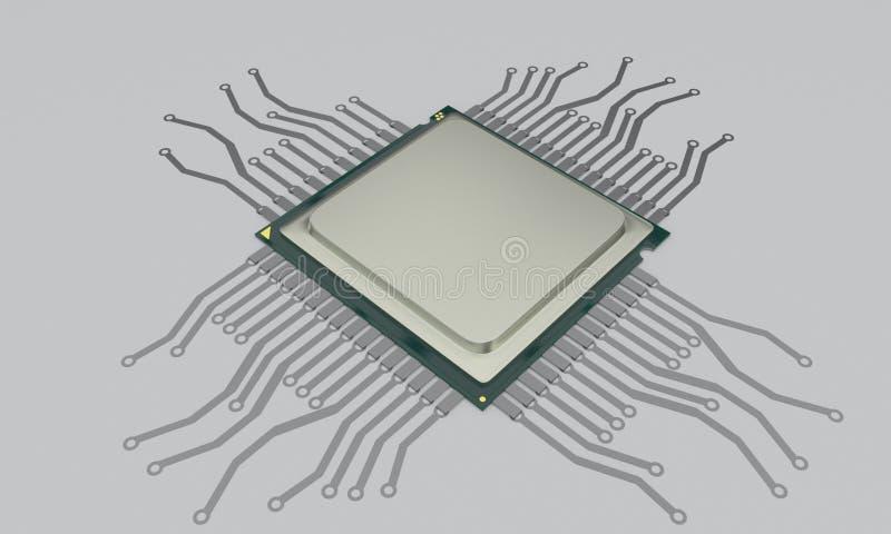 Concetto del bitcoin del CPU, 3d r illustrazione di stock
