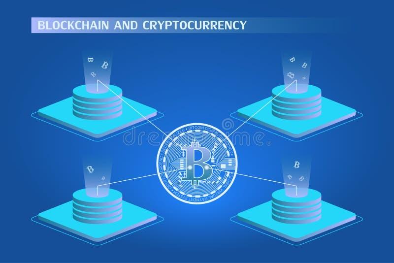 concetto del blockchain e di cryptocurrency Azienda agricola per l'illustrazione isometrica estraente di vettore dei bitcoins illustrazione vettoriale