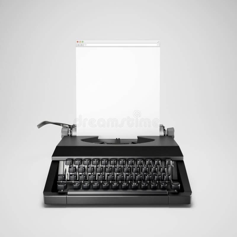 Concetto del blogging. Macchina da scrivere con la finestra del computer illustrazione vettoriale