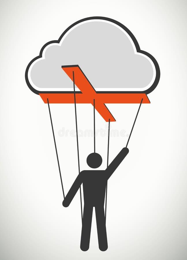Concetto del burattino della corda di tecnologia della nuvola illustrazione di stock