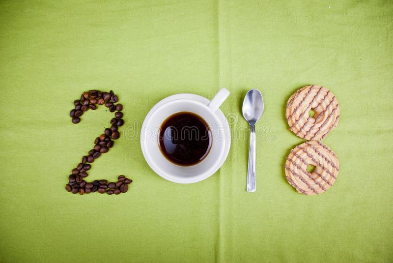 Concetto 2018 del caffè immagine stock