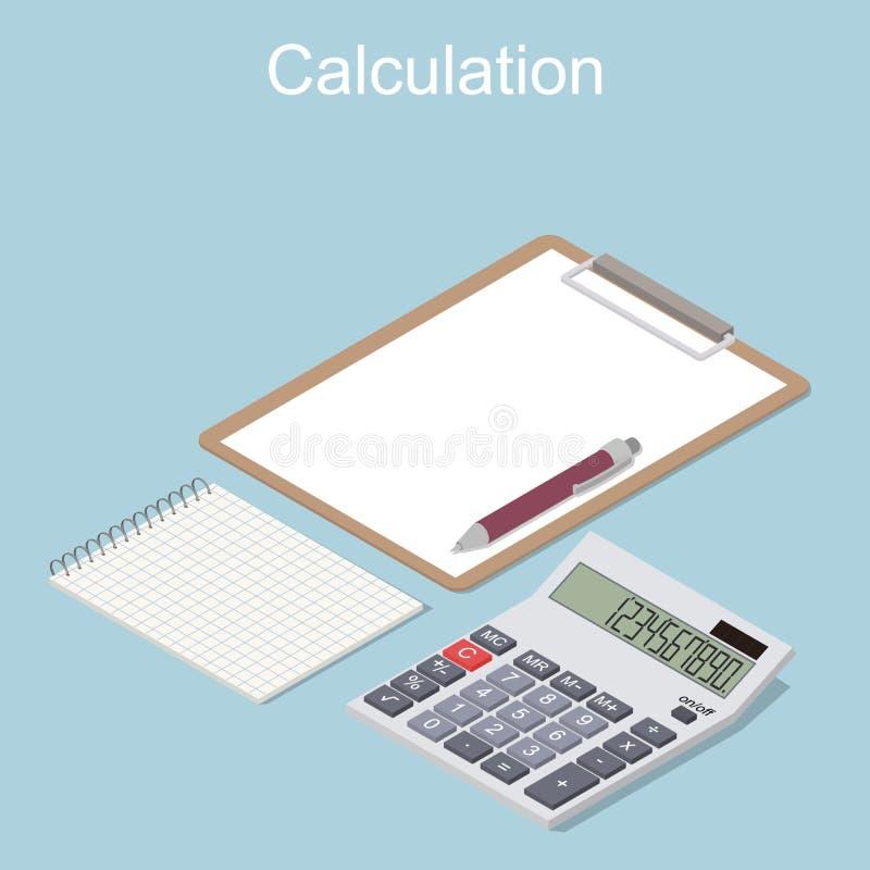 Concetto del calcolo di reddito e di spese illustrazione vettoriale
