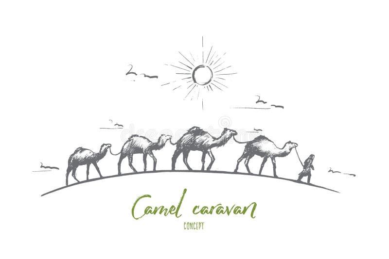 Concetto del caravan del cammello Vettore isolato disegnato a mano illustrazione di stock