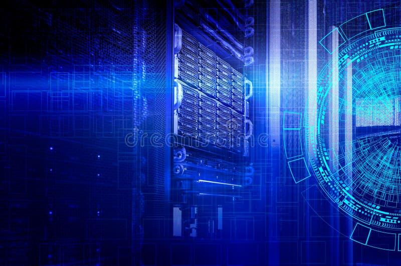 Concetto del centro dati di memoria a dischi Tecnologia dell'informazione e base di dati su fondo tecnologico immagine stock